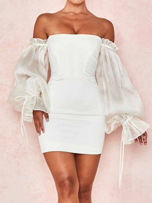 Off Shoulder Backless Long Sleeve Above Knee Bodycon Women's Dress
