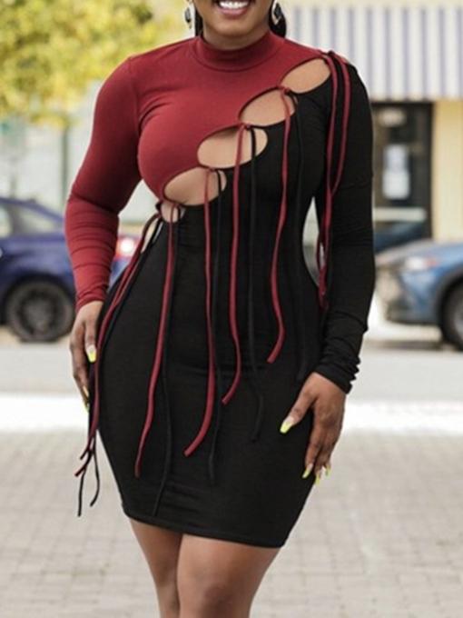 Lace-Up Stand Collar Long Sleeve Above Knee Bodycon Women's Dress