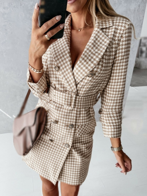 Nine Points Sleeve Button Notched Lapel Above Knee Fashion Women's Dress