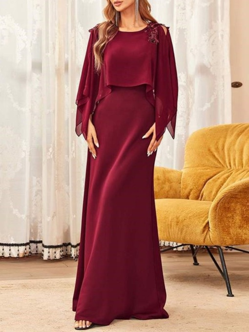 Scoop Floor-Length A-Line Long Sleeves Mother of the Bride Dress 2021