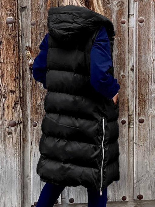 Single-Breasted Slim Button Long Women's Cotton Padded Jacket