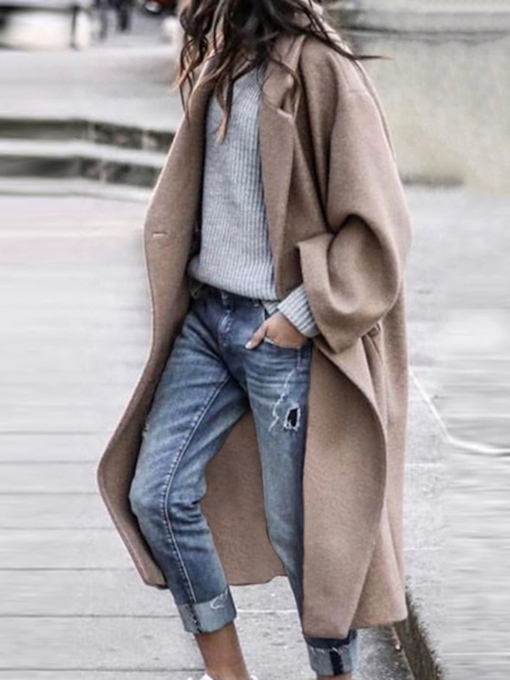 One Button Loose Button Long Women's Overcoat