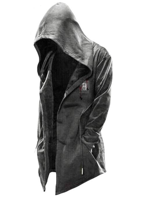 Mid-Length Hooded Print Men's Leather Jacket