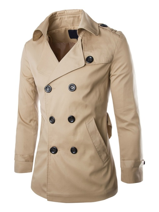 Plain Lapel Standard Button Double-Breasted Men's Trench Coat