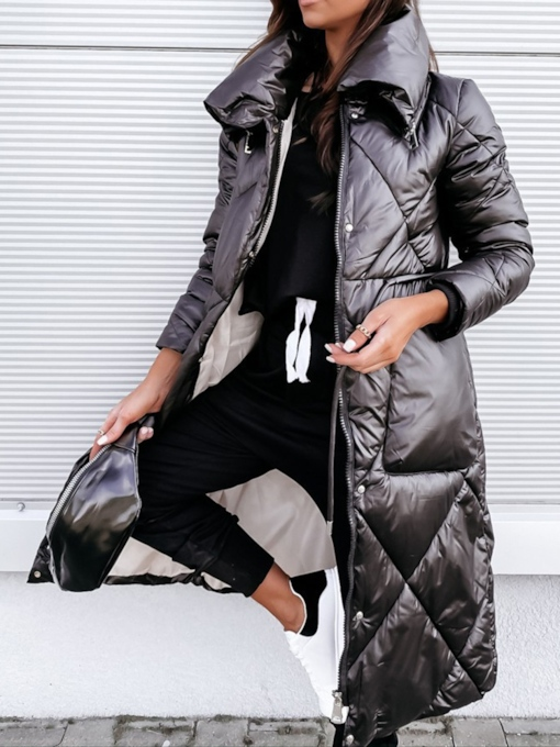 Button Single-Breasted Straight Long Women's Cotton Padded Jacket