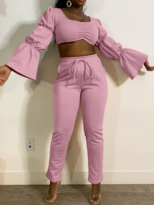 Pants Pleated Plain Fashion Pullover Women's Two Piece Sets
