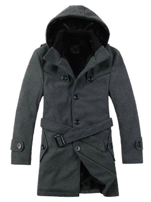 Button Double-Layer Mid-Length Plain Single-Breasted Men's Coat