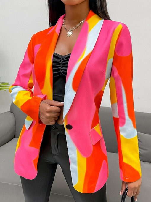 Color Block Notched Lapel Long Sleeve One Button Spring Women's Casual Blazer