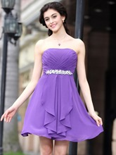 Strapless A-Line Ankle-Length Beaded Home Coming Dress