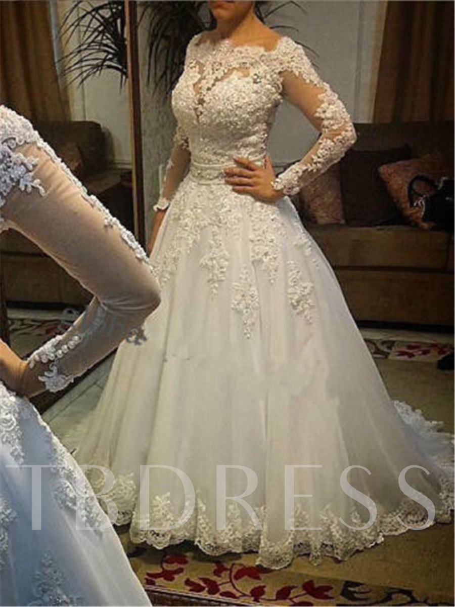 Image of Appliques Long Sleeve Plus Size Wedding Dress
