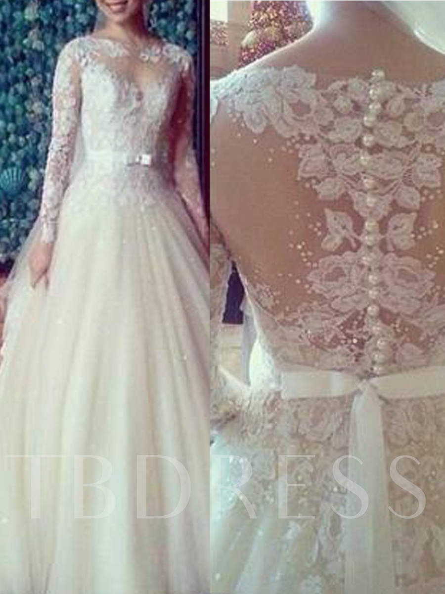 Image of Bateau Neck Pearl Appliques Long Sleeves Wedding Dress