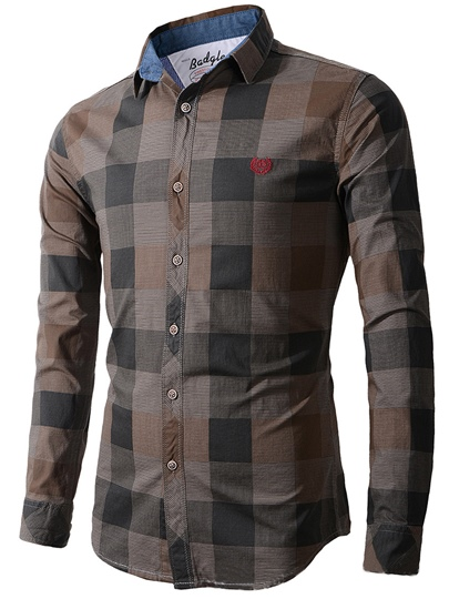 Lapel Plaid Color Block Slim Men's Shirt
