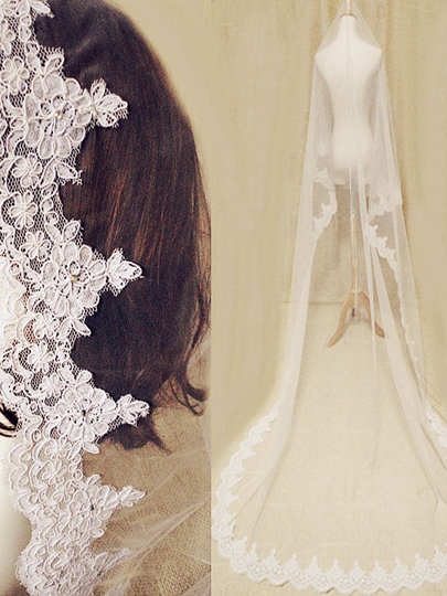 Lace Edge Chapel Length Wedding Veil