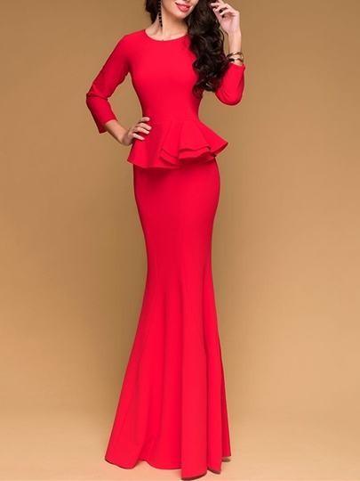 Mermaid Jewel Ruffles Long Evening Dress