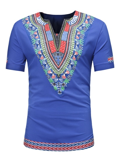 Dashiki Dress Slim Men's Short Sleeve Shirt