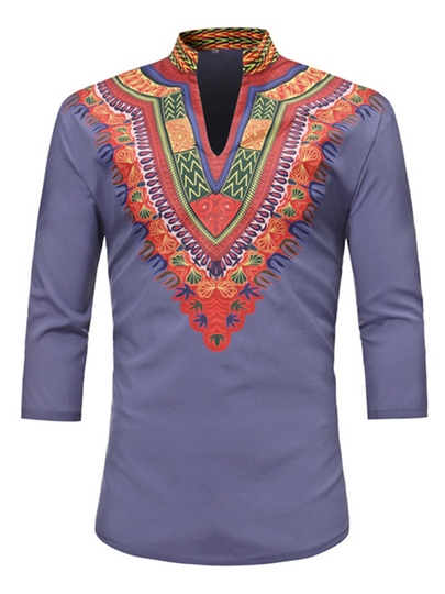 Dashiki V-Neck Vintage African Print Luxury Men's Shirt