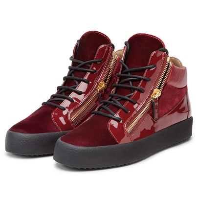 Patchwork Side Zipper Platform Men's Skate Shoes