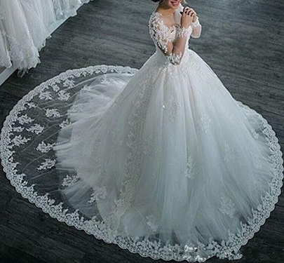 Long Sleeves Appliques Vintage Ball Gown Wedding Dress