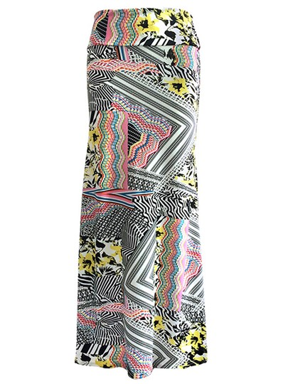 Geometric Print Floor Length Women's Maxi Skirt