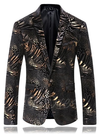 Notched Collar One Button Golden Floral Printed Slim Men's Blazer