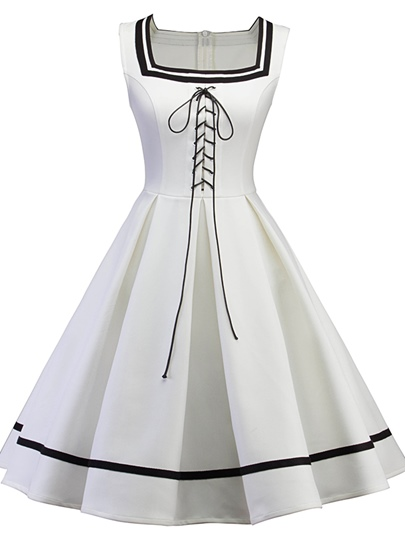 White Square Neck Lace up Women's A-Line Dress