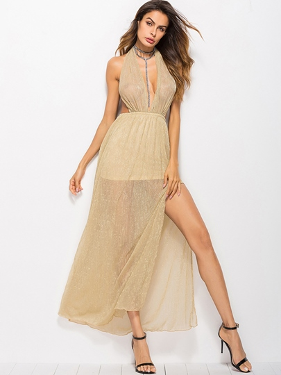 Split Halter Backless Women's Maxi Dress