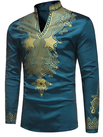 Dashiki Stand Collar African Print Luxury Men's Shirt