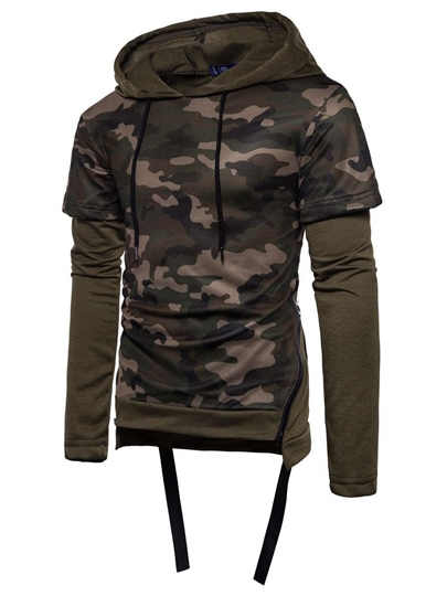 Hooded Camouflage Slim Men's Sweatshirt
