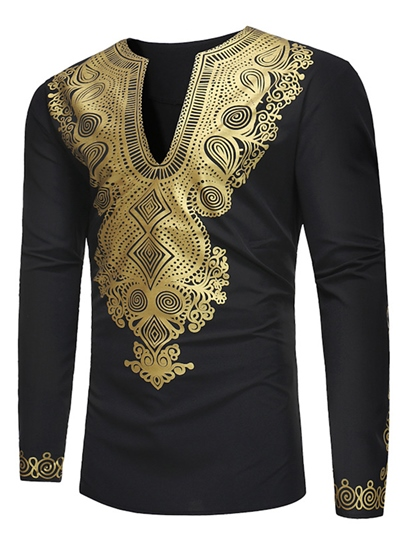 Dashiki V-Neck Golden African Print Slim Luxury Men's Shirt