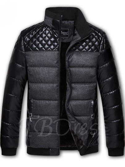 Stand Collar Patchwork Slim Men's PU Jacket