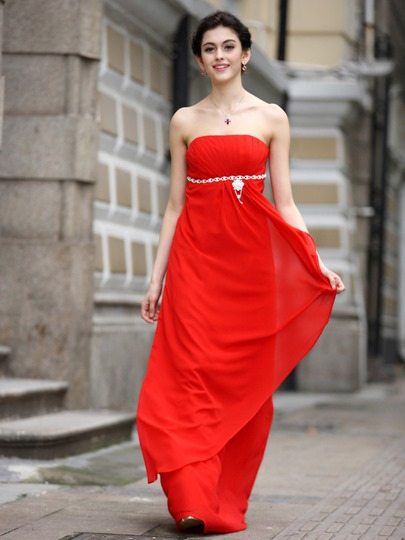 A-Line Beading Empire Waist Bridesmaid Dress