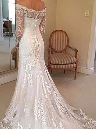Mermaid Lace Wedding Dress with Long Sleeve