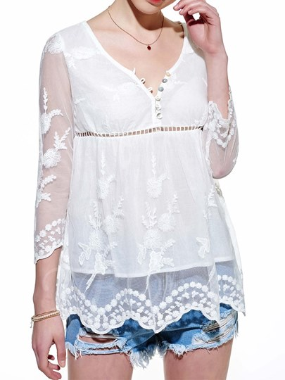 White Solid Color Lace Women's Blouse