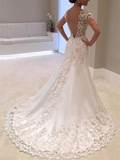 Cap Sleeves Appliques Mermaid Wedding Dress Cap Sleeves Appliques Mermaid Wedding Dress