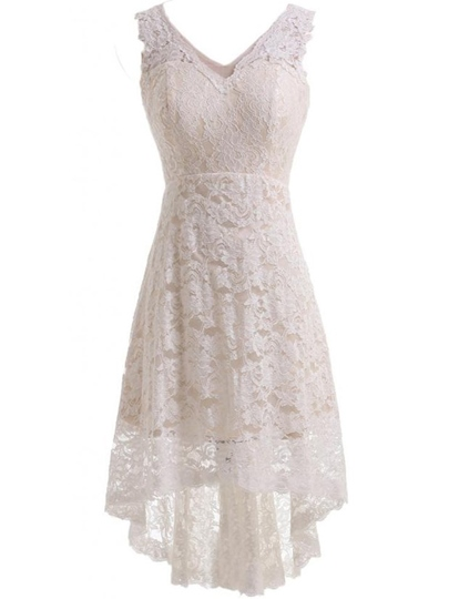 Straps Lace Short Beach Wedding Dress