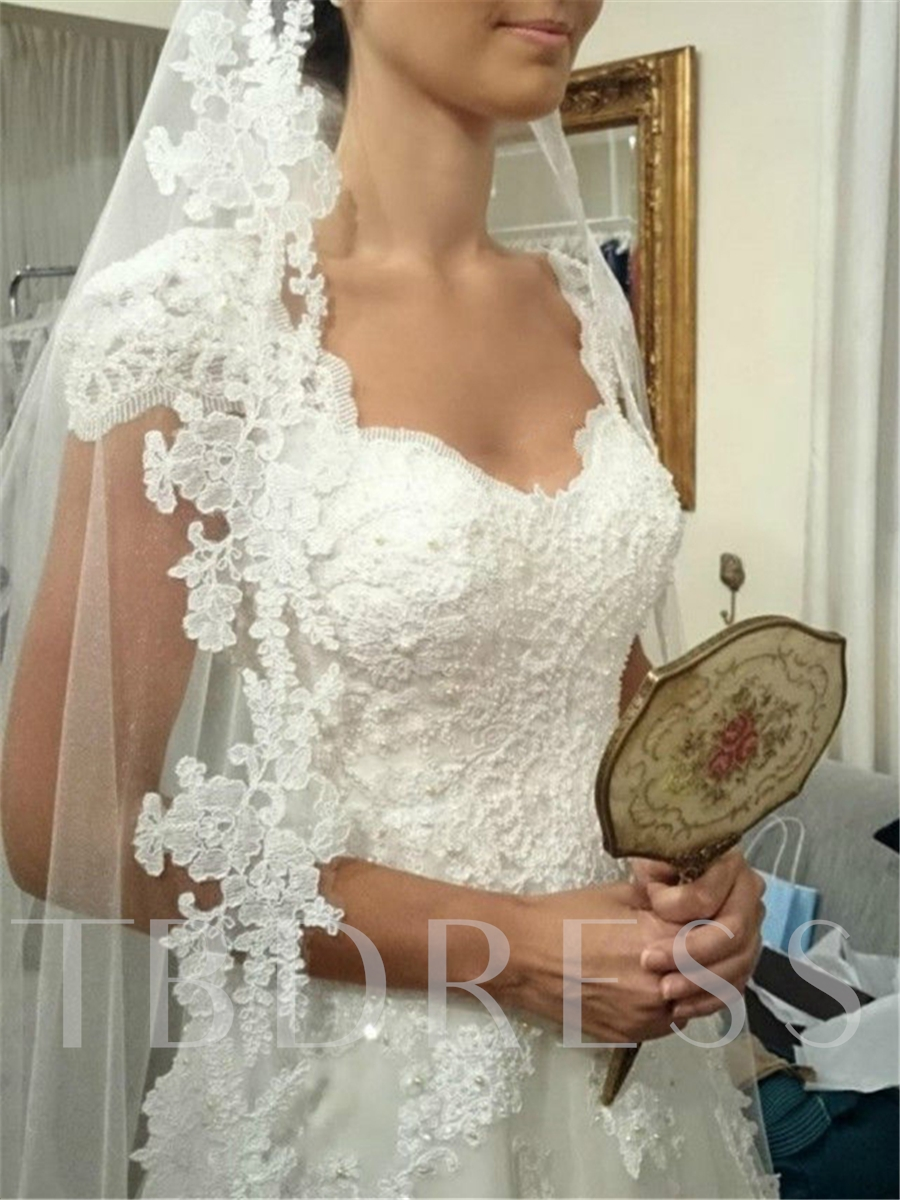 Image of Real Pictures V-Neck Cap Sleeve Appliques Wedding Dress