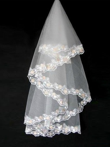 Champagne Lace Floral Edge Gauza Wedding Bridal Veil