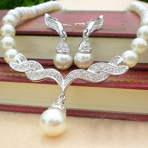 Pearl Wedding Bridal Jewelry Set with Alloy Connector