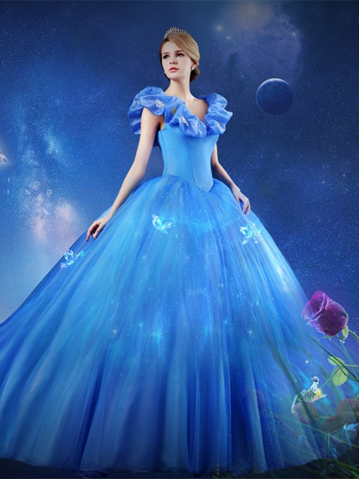 Cap Sleeves Butterfly Ball Gown Princess Cinderella Dress