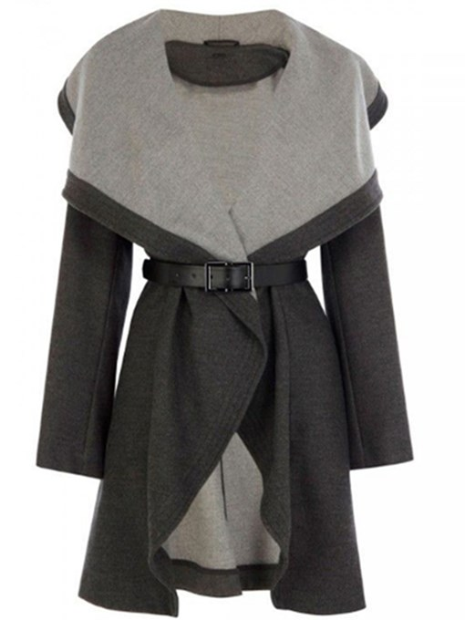 Gray Lapel Color Block Women's Overcoat