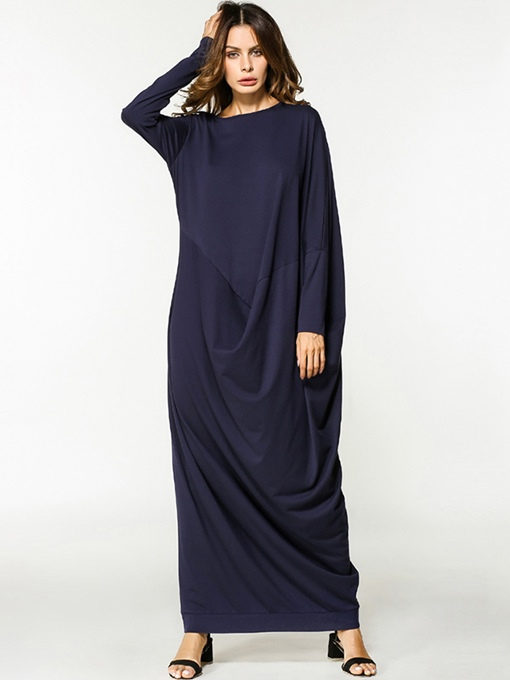 Dark Blue Batwing Sleeve Women's Maxi Dress