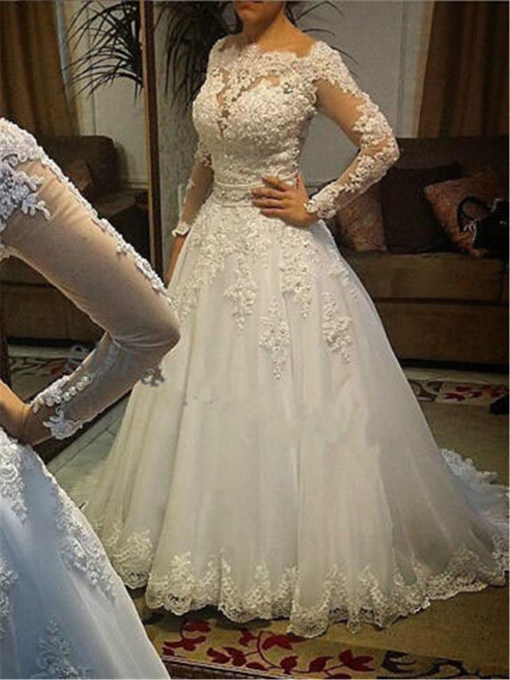 Appliques Beading Long Sleeve Plus Size Wedding Dress