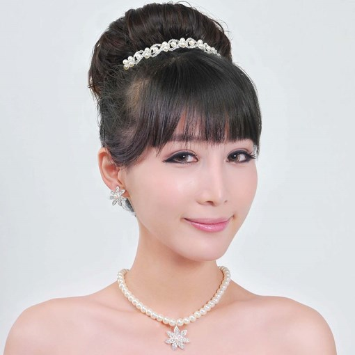Pearl Wedding Jewelry Set (Including Tiara,Necklace and Earrings)