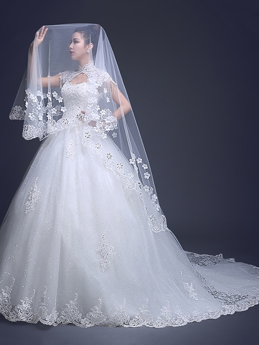 Ball Gown High Neck Appliques Beaded Wedding Dress