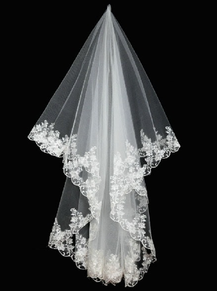 Single Layer Floral Edge Wedding Bridal Veil
