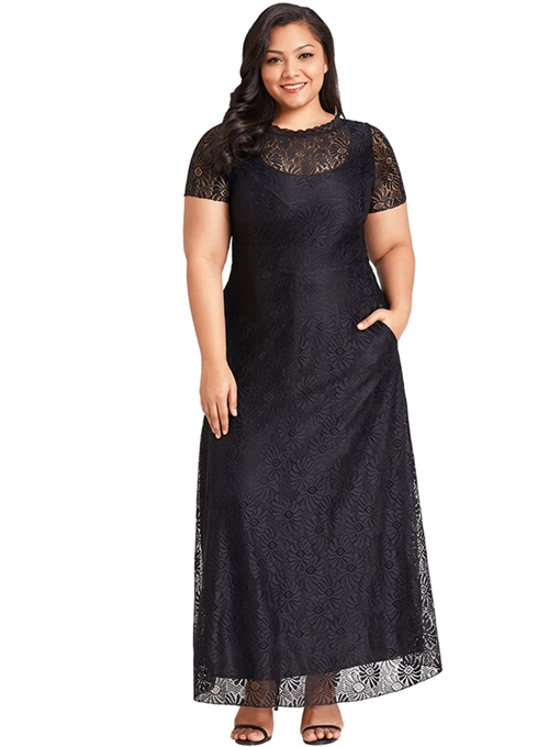 Plus Size High Waist Double Layer Lace Dress