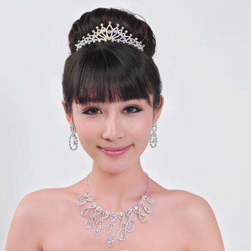 Alloy with Rhinestone Wedding Jewelry Set (Including Tiara,Necklace and Earrings)