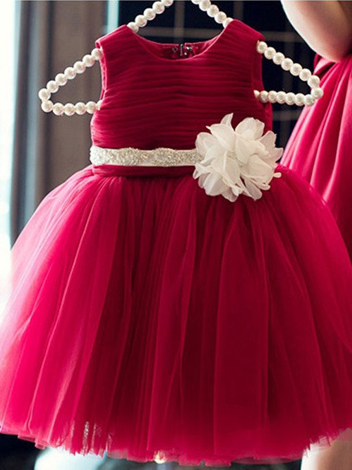 Ball Gown Scoop Neck Zipper-up Sash/Ribbon Flower Girl Dress