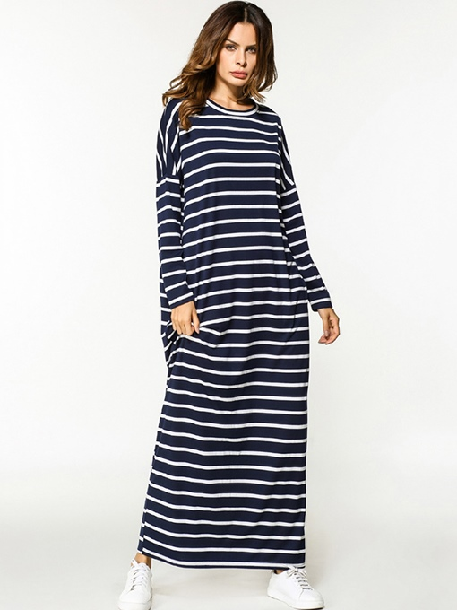 Dark Blue Striped Long Sleeve Women's Maxi Dress