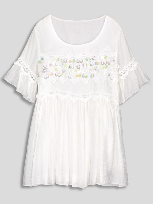 Sequins Bead Round Neck Expansion Dress